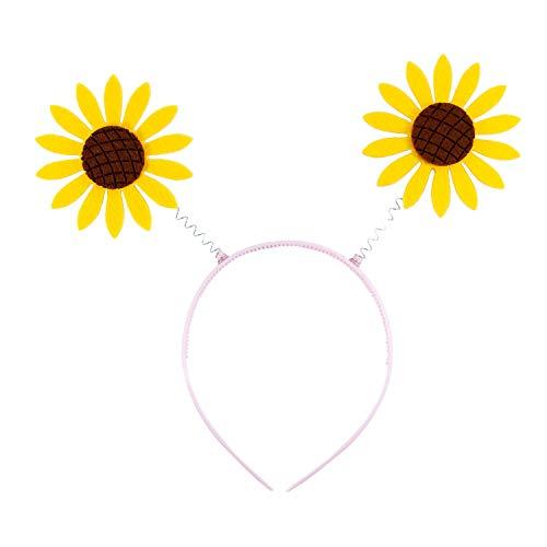 Oblique Unique® Haarreif mit Wackel Sonnenblumen Haarreifen Kostüm Accessoire für Karneval Fasching Motto Party Gelb Braun (Gärtner Kostüm Männer)