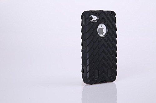 4S Iphone Coque,Lantier Tire Conception fraîche de la série 3 en 1 Heavy-Duty Dual Layer Soft Touch Housse de protection avec boîtier intérieur dur PC pour Apple Iphone 4S orange Tire Black