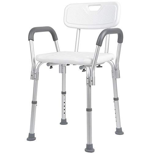 Rehab - Sedia da doccia con schienale e braccioli estraibili - sedile da doccia da vasca, sedia regolabile in altezza - Ausilio Supporto per Anziani