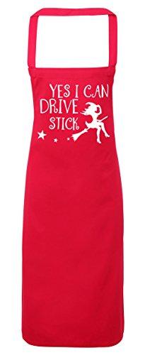 ch Can Drive Stick Hexe fliegend auf Besen Schürze Küche Kochen Malerei DIY Einheitsgröße Erwachsene, fuchsia pink, Einheitsgröße (Hocus Pocus Halloween-kostüm)