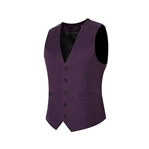 Mens Designer Herringbone Vintage Slim Style Waistcoats Männer Jungen Casual Business Waistcoat Slim Fit Hochzeit Smoking (Color : Lila, Size : L)