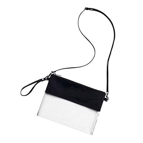 Auony Verstellbarer Umhängegurt klar Tasche, NFL zugelassen CLEAR VINYL Gameday Crossbody Handtasche Tasche mit Reißverschluss für Arbeit Schule Sport Spiele, Schwarz (Weekender Cross Body)