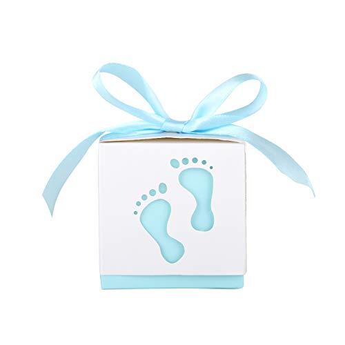 Wolfteeth 50 pz scatola portaconfetti bomboniera scatolina regalo con 50 pz nastri per compleanno bambino battesimo festa blu