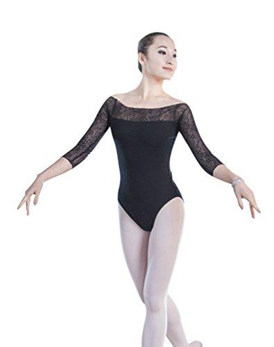 ZKOO Femmes Robe de Danse Manches Longues justaucorps Ballet Gymnastique Noir XL