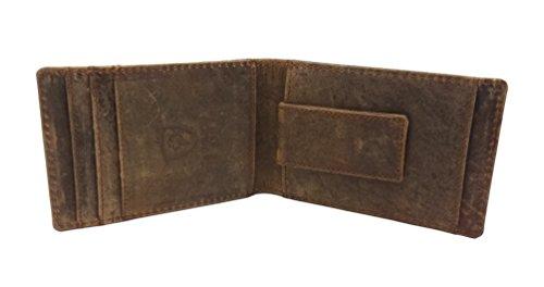 RFID SAFE Blocking Echtes echtes DISTRESSED Leder Geld Clip Front Tasche Geldbörse mit Magnet Clip und Card Id Case (Front-tasche-clip)