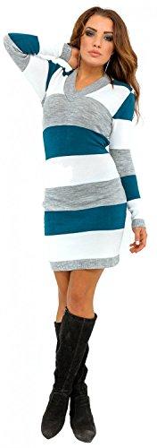 Glamour Empire. Donna maglia a righe pullover scollo V. Vestito in maglia. 405 Acqua