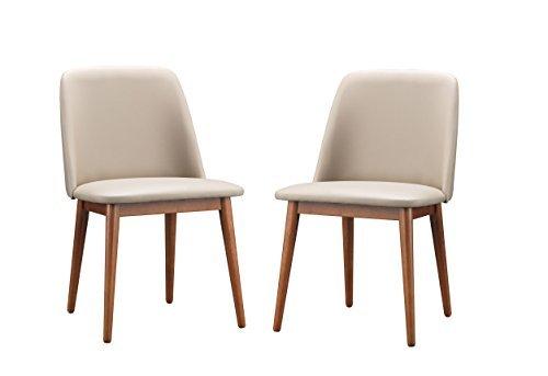 Baxton Studio Lavin Mid-Century Dark Walnut Wood and Beige Faux Leather Dining Chairs by Baxton Studio