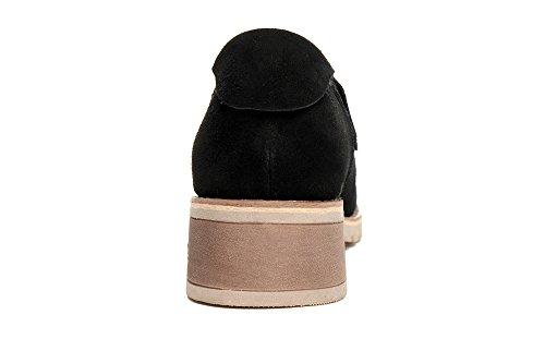 Damen Schnürhalbschuhe Nubuk Leder Rundzehen Britisch Stil Klassisch Einfach Weich Rutschhemmend Bequem Topaktuell Freizeit Schuhe Schwarz