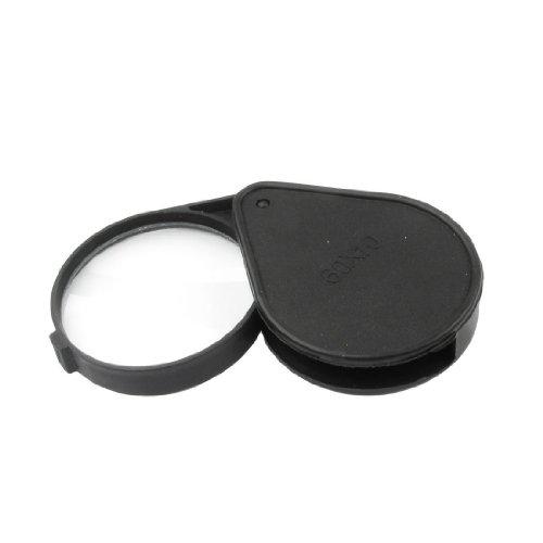 Sonline Kunststoff Schwarz Wasser-Tropfen-Form-Case 60mm Durchmesser Landkarte Lupe 10-fach Lupe -