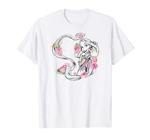 Disney Tangled Rapunzel Floral Color Splash Graphic T-Shirt
