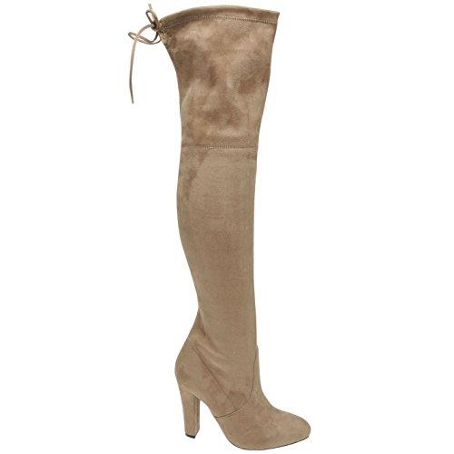 Steve Madden Damen Gorgeous Overknee Stiefel Hoher Absatz Schnürung Detail Taupe