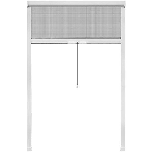 vidaXL Mosquitera blanca enrollable para ventanas, 120 x 170 cm
