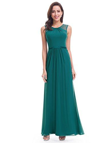 Ever Pretty Damen Elegant Ärmellos Perlen Lang Abendkleider Maxikleider Größe 48 Blaugrün