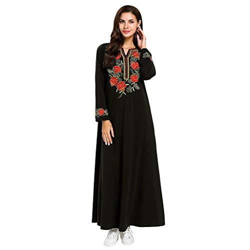 TEBAISE Muslimische Kostüm 2019 Sale Angebote Sommerkleid Damen Prinzessin Lange Ärmel Kleid Stickerei Islamisch Rock Muslim Kleidung Elegant Robe Arabischen Osten Nationaltracht Abaya Kaftan Ramadan (Frauen 2019 Für Kostüme)