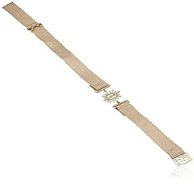 Jade Jagger Insignia Star and Garter 14ct Yellow Gold and Diamond Cream Ribbon Bracelet