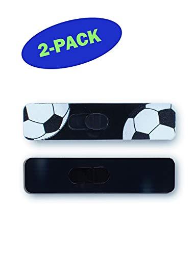 Kamshield Webcam Cover - verschiebbare Kamera-Abdeckung für Laptops, iPad und Tablets, schützt Ihre Privatsphäre - viele Farben und Designs erhältlich - 2 Packungen, Soccer Ball/Black