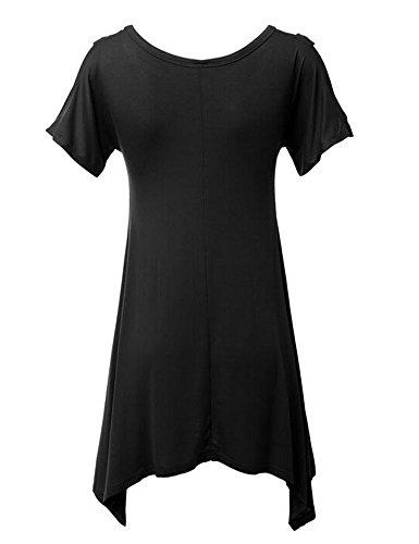 Zetiy Damen Kurzarm Schulterfrei Blusen Tuniken mit Schnürung Vorne Schwarz
