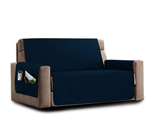 La biancheria di casa elizabeth copri poltrona divano antiscivolo (3 posti, blu) con 2 tasche portaoggetti