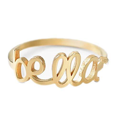 Yanday Mode benutzerdefinierte Ring Männer und Frauen personalisierte Name Ring(18 Karat (750) Gelbgold 56 (17.8))