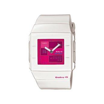 Casio Baby-G - Reloj analógico - digital de mujer de cuarzo con correa de resina blanca (alarma, cronómetro, luz) - sumergible a 100 metros