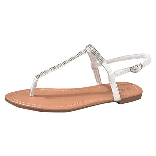 Meilleure Vente LuckyGirls Women Open Toe Rhinestone Decoration Sandals Flats Buckle Strap Shoes Sandals