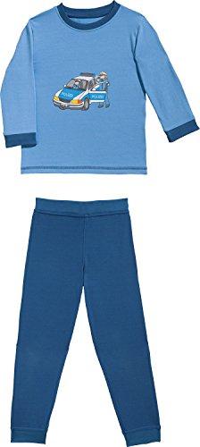 Erwin Müller Kinder-Schlafanzug, Pyjama Polizei Single-Jersey blau/Marine Größe 98/104-100% Baumwolle, hautfreundlich, mit Rundumgummizug