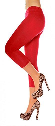 Damen Legging 3/4 Bein Baumwolle kurz Sommer Leggins wadenlang einfarbig uni One Size Gr XS S M L 34 36 38 40 Rot