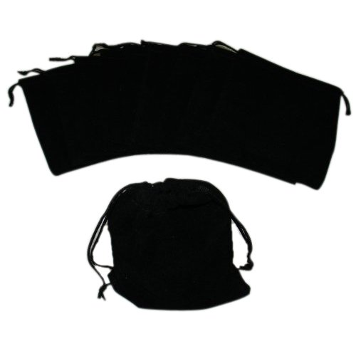TOOGOO(R) Large Velvet Black Pouches With Drawstrings