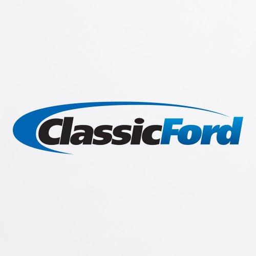 Classic Ford Black & Blue Logo T-Shirt, Herren Wei