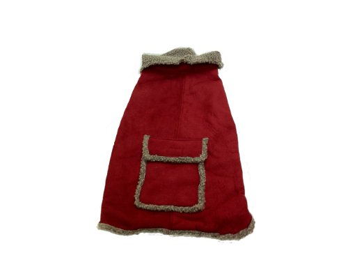 CPC Velourslederimitat und Trinkgeld Berber Mantel/Jacke für Hunde, XS, rot -