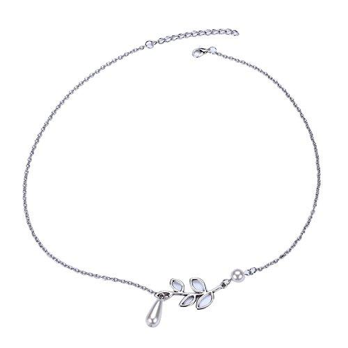 tininna Damen Künstliche Perle Legierung Blattmotiv clavicle Ohrringe und Halskette Perle Halsreif des Halsband Schmuck