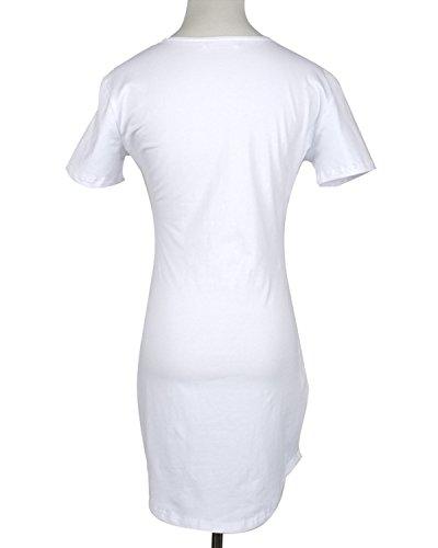 Minetom Femmes Moulante a Manche Courte Col Rond Sexy Party Base De L'Ourlet Irreguliere Slim Mini Robe Courte Blanc