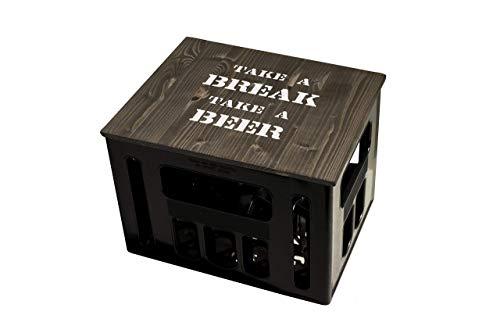 ultiMade Bierkastensitz Holz Sitzauflage für Bierkiste Geschenkidee Geschenk für Männer Biergeschenk Hocker Holz Hipster mit Motiv TAKE A BREAK