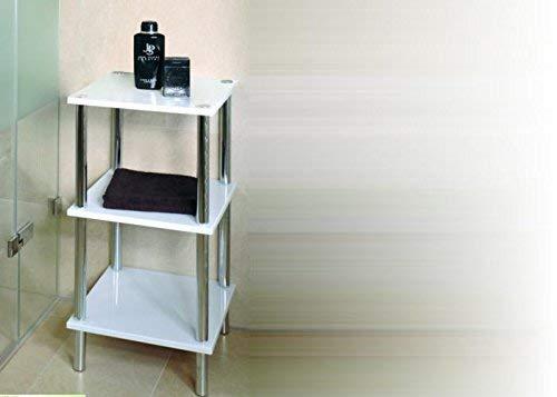 HAKU Möbel 90339 Regal 39 x 39 x 77 cm, chrom / weiß