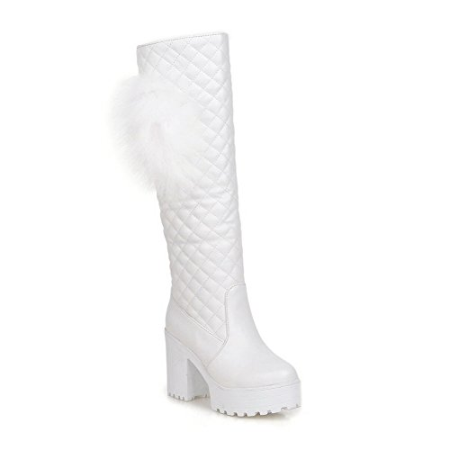 VogueZone009 Damen Hoher Absatz Mitte-Spitze Ziehen auf Rund Zehe Stiefel, Weiß, 38