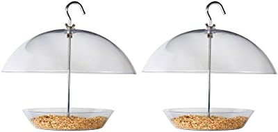 Pack of 2 LARGE Squirrel Proof Hanging Dome Bird Feeder - ideal for smaller birds - keeps the food dry