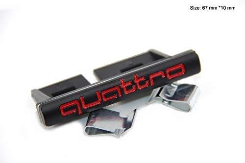 ABS-Quattro-Emblem mit Clips, für S1 A3 A4 A5 A6 A7 A8 Q2 Q3 Q5 Q7 TT R8, Mattschwarz/Rot