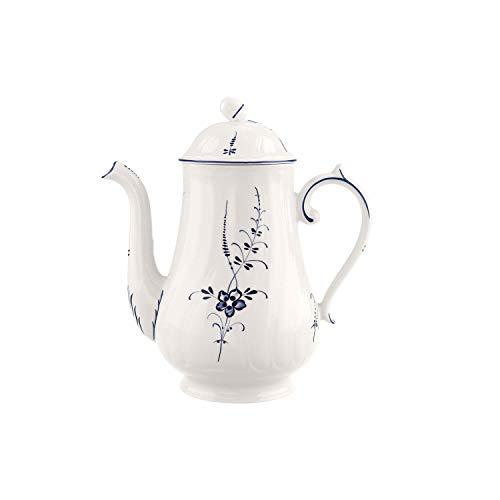 Villeroy & Boch Vieux Luxembourg Kaffeekanne, 1,3 Liter, Premium Porzellan, Weiß/Blau