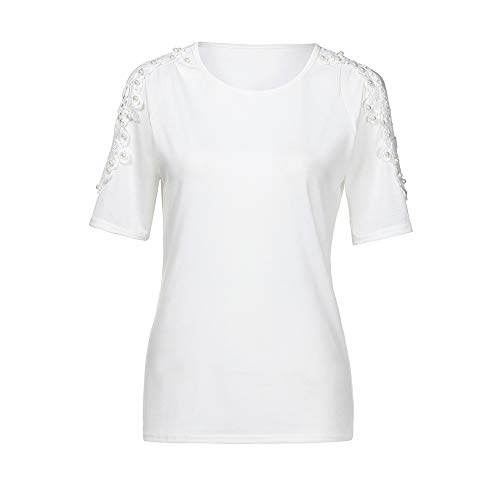 IMJONO Damen T-Shirt Kurzarm Tops Bluse,2019n Jubiläum Frauen Kurzarm Spitze Splice Off Schulter Bluse Damen Shirt Tops ()