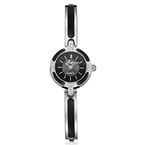 GiGiSun Lvpai Damenuhr Kristall Diamant Armband Edelstahl Quarz Armbanduhr (Silber B)