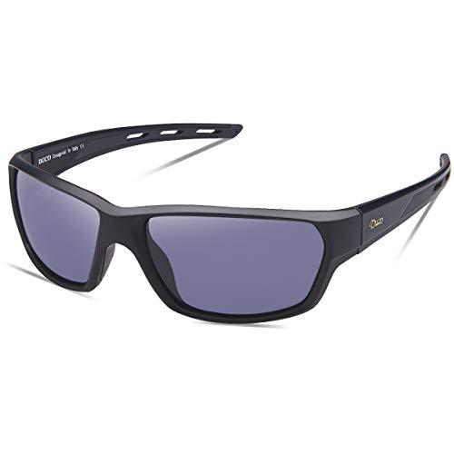 DUCO Polarisierte Sportbrille Sonnenbrille Fahrradbrille mit UV400 Schutz für Herren Autofahren Laufen Radfahren Angeln Golf TR90 (Grey)