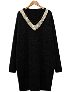Mujer Jersey Largo Elegante Otoño Invierno Camisa De Manga Larga V Cuello Pullover Largos Tallas Grandes Anchos...
