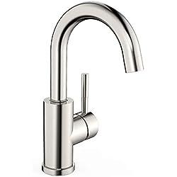 Amzdeal Waschtischarmatur hoher Auslauf 360 ° drehbare Waschbecken Armatur Mischbatterie Badezimmer Wasserhahn, Waschtisch Armatur aus solide 304 Edelstahlstange / AZ002C