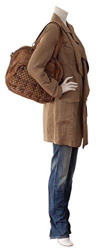 FREDsBRUDER Funday Shopper Schultertasche aus kernigem Vintage Leder mit Multifarbeffekt (35 x 28 x 13 cm) Rot