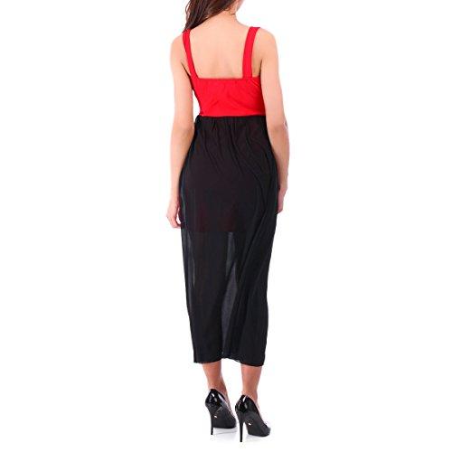La Modeuse - Robe courte avec voile long Rouge