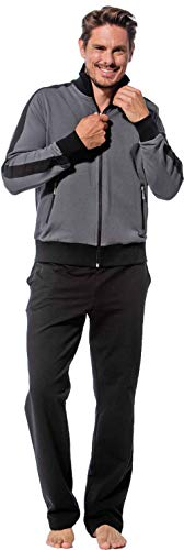 Morgenstern Herren Hausanzug, Freizeitanzug, Jogginganzug Erik graue Jacke und Schwarze Hose Größe XXL -