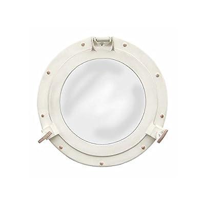 Bullaugenspiegel zum Öffnen Rund Aluminium Elfenbein-Optik Ø: 28,5cm
