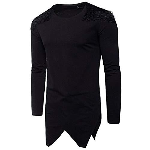 MRULIC Herren Langarm Kapuzenpullover Hoodie Pullover Sweatjacke Pullover(Schwarz 2,EU-44/CN-M)