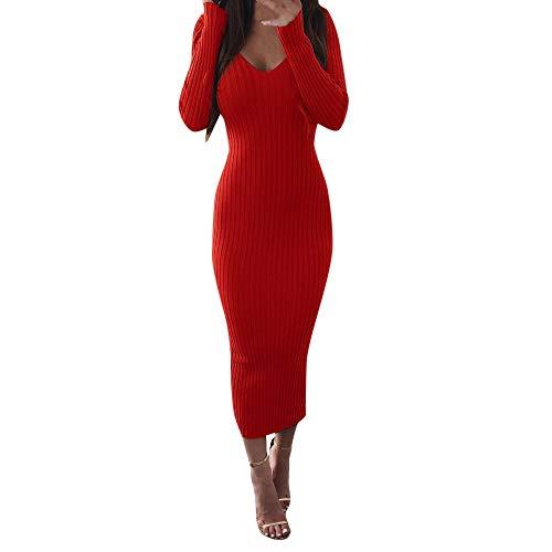 ➤Refill➤Bodycon Kleid für Damen - Mode Einfarbig Slim Fit A-Linie Strickkleider Frauen Lange Ärmel Gestrickte Kleider Bleistift-Kleid Kleidung Strassenmode S-XL