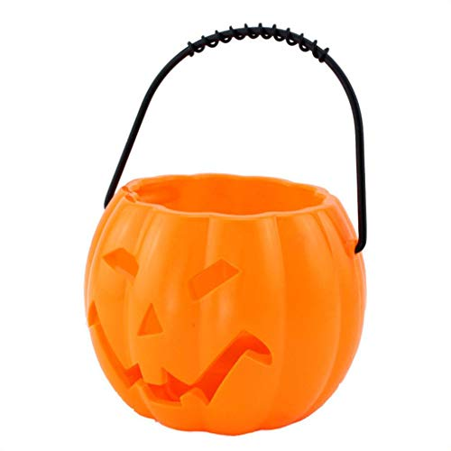 Timlatte Tragbare Kinder Halloween-Kürbis-Schläger Laterne Kürbis Süßigkeiten Barrel Eimer Ton Home School-Party-Dekoration (Orange Barrel Kostüm)